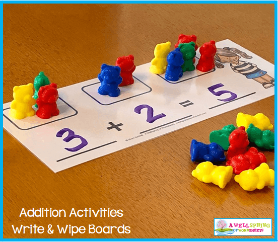 Kindergarten Addition Activities - Write & Wipe Mats