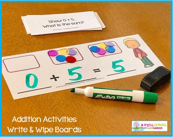 Kindergarten Addition Activities - Write & Wipe Mats