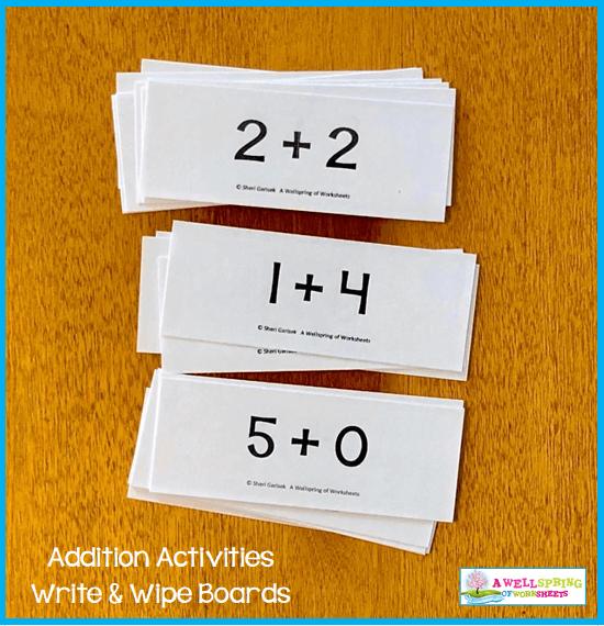 Kindergarten Addition Activities - Addition Problems Cards