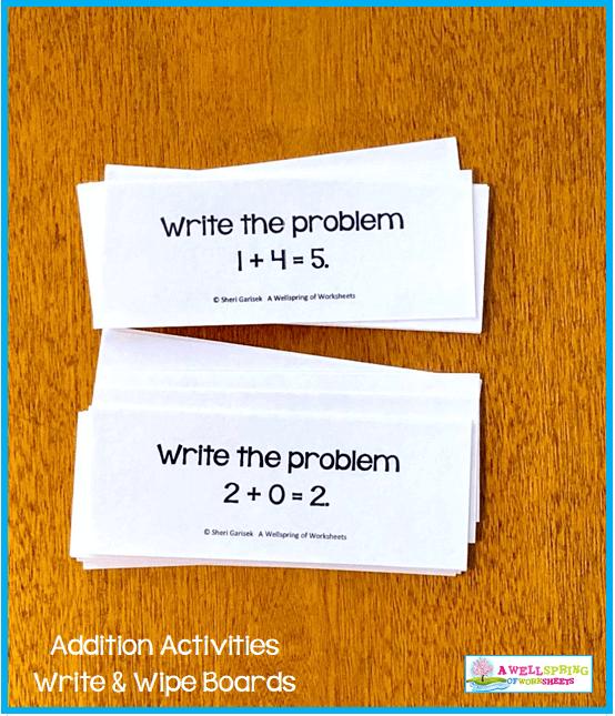 Kindergarten Addition Activities - Write the Problem Cards