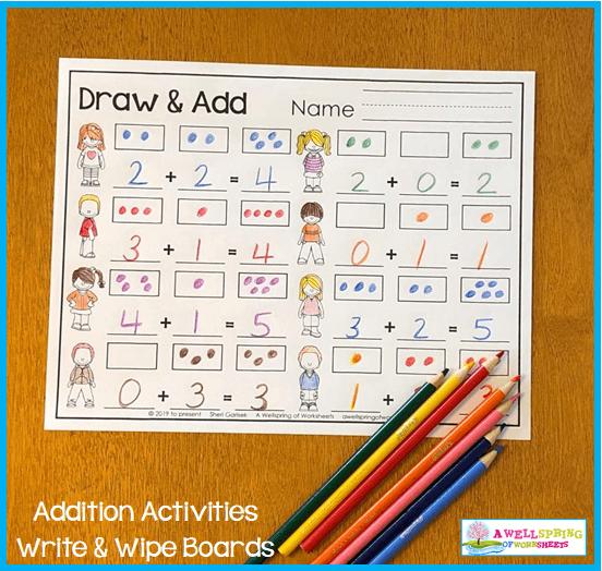 Kindergarten Addition Activities - Draw & Add Worksheet