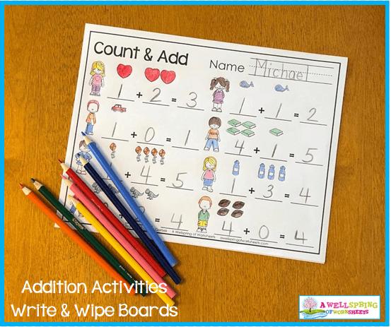 Kindergarten Addition Activities - Count & Add Worksheets