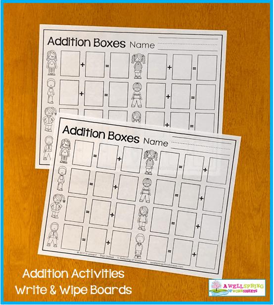 Kindergarten Addition Activities - Addition Boxes Worksheets