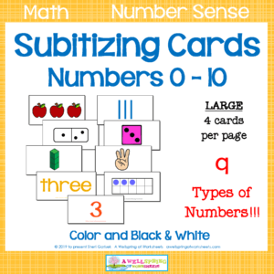 Subitizing Cards for Numbers 1-10
