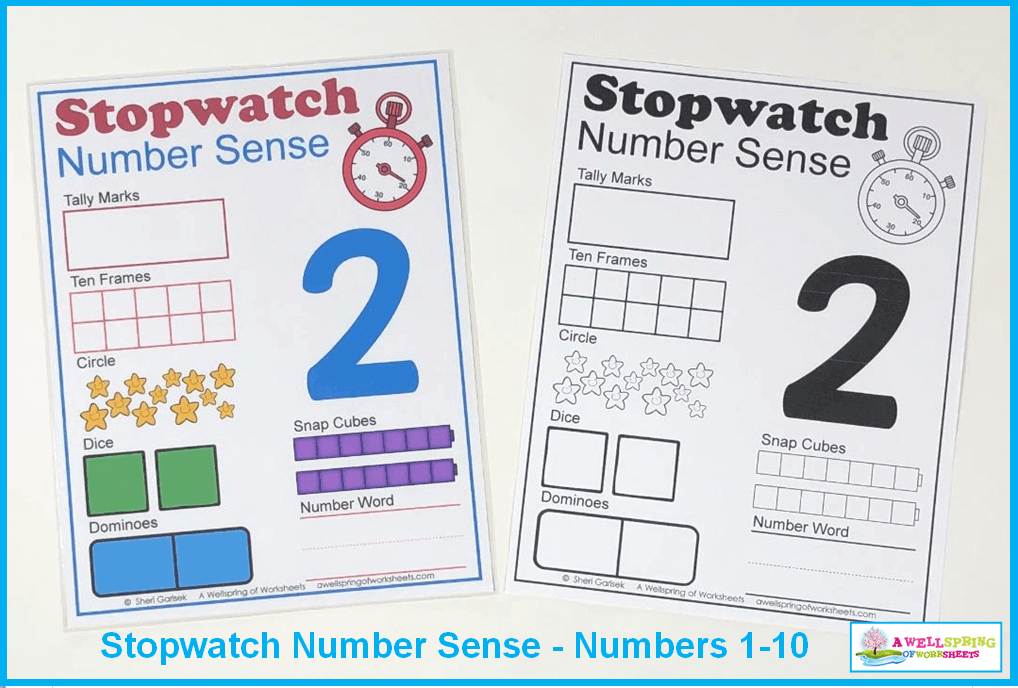 Stopwatch Number Sense - Color and Black and White versions