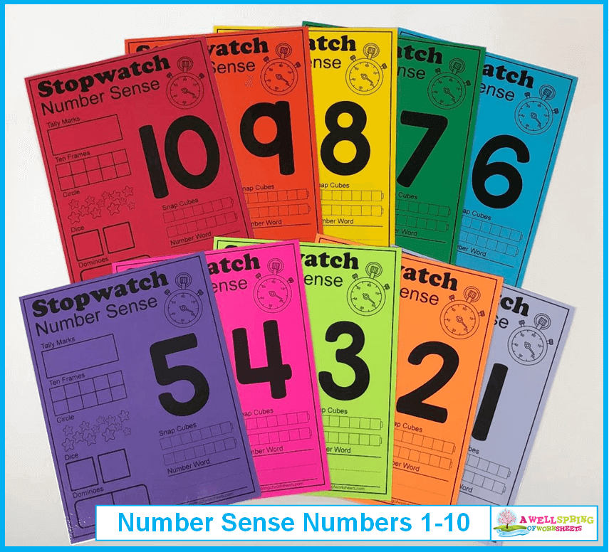 Stopwatch Number Sense - Print in Rainbow Colors