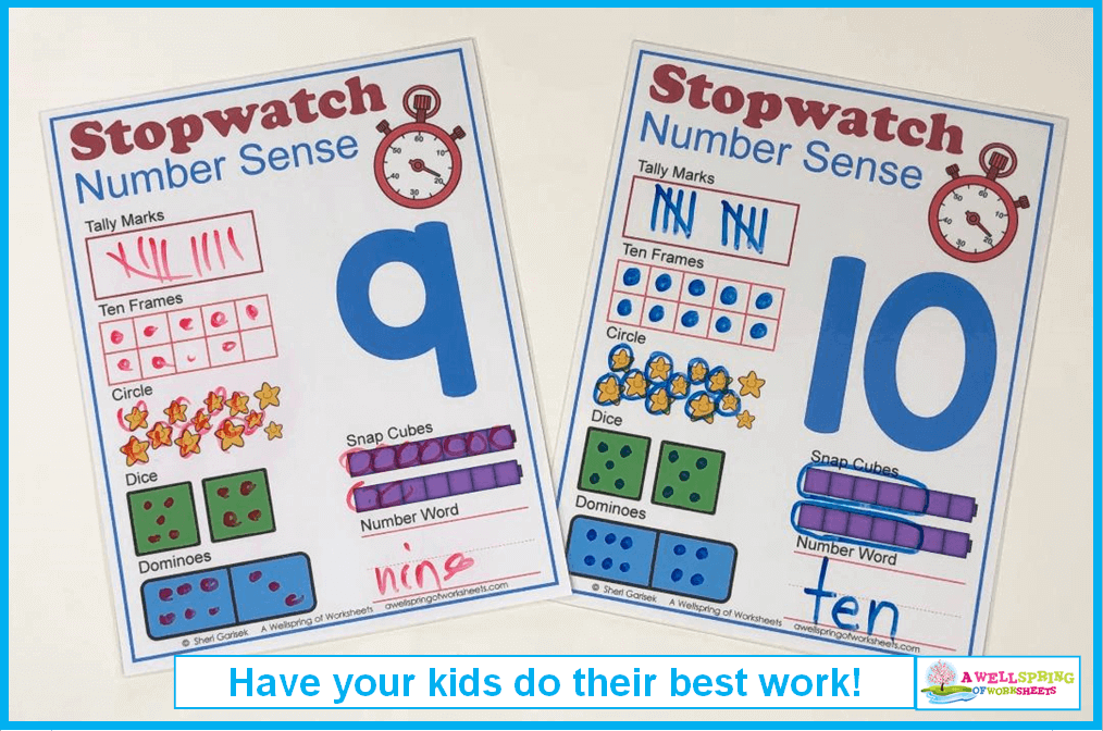 Stopwatch Number Sense _ Writing Should Be Clear and Legible!